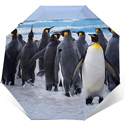 Auto Öffnen Schließen Dreifachgefalteter Regenschirm Antarktis Niedliches Tier Pengufolding Regenschirm Außenwanddruck Sonnenschirm