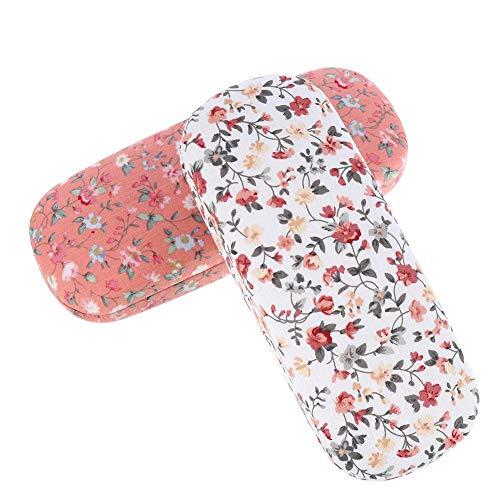 Xinzistar 2 Stücke Brillenetui Hardcase für Damen Herren, Blumen Sonnenbrille Brillenetui Hartschalen Brillenbox Schutzhülle für Brillen Sonnenbrillen(2 Stück Klein Blumen - Weiß + Rosa)