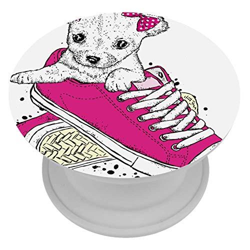 MUOOUM Een Leuke Puppy Met Een Strikken Zitten In Sneakers Telefoonhouder Stand Vinger Telefoonhouder voor Smartphone en Tabletten