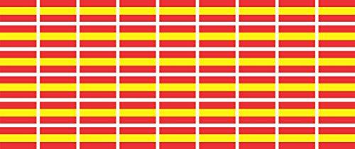 Mini Aufkleber Set - Pack glatt - 20x12mm - Sticker - Spanien - Flagge - Banner - Standarte fürs Auto, Büro, zu Hause & die Schule - 54 Stück
