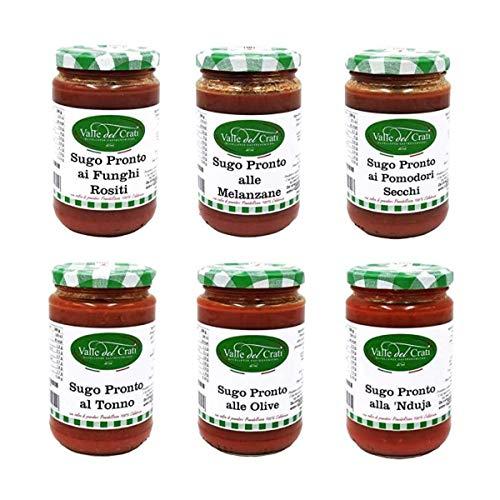 Box Degustazione Sughi, Confezione di Sughi Pronti Calabresi, Sugo ai Funghi Rositi, Sugo ai Pomodori Secchi, Sugo al Tonno, Sugo alla Nduja, Sugo alle Melanzane e Sugo alle Olive