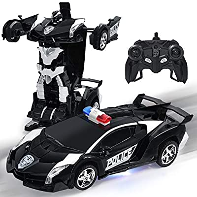 Kossmask Robot Deformation Car Rechargeable One Button Transformation RC Car, 360°Rotating Remote Control Vehicles with Realistic Engine Sound Gift for Kids from SHANTOU CHENGHAI ZHONGYI TOY CO.,LTD
