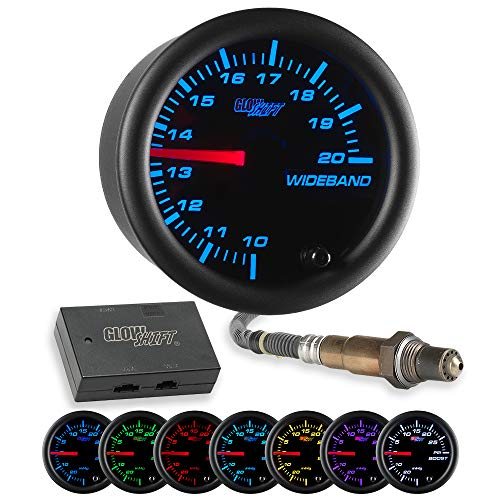 GlowShift Black 7 Color Analog Needle Wideband Air/Fuel Ratio AFR Gauge - Includes Oxygen Sensor, Data Logging Output & Weld-in Bung - Black Dial - Clear Lens - 2-1/16' 52mm