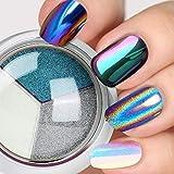 PrettyDiva Chrome Nail Powder - Solid Holographic Nail Powders, Mermaid Iridescent Chrome Nail Powders, Chameleon Ombre Nail Pigment Mirror Finish Powder