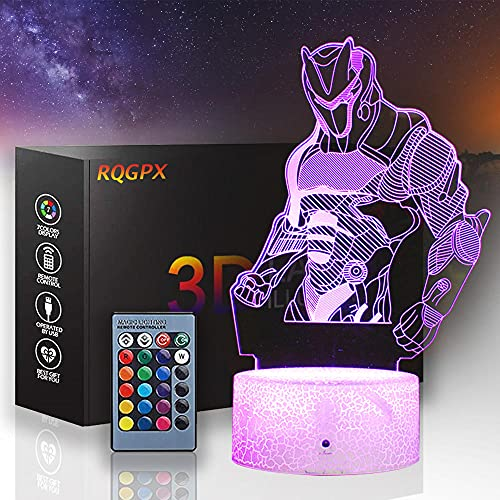 Omega 3D lámpara de luz nocturna con control remoto 16 colores cambiantes Dim, decoración del dormitorio mejor regalo creativo de cumpleaños de Navidad para hombres y amigos
