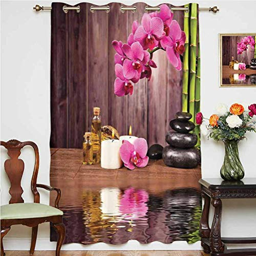 Albert Lindsay Backdrop Spa Decor Sliding Door Curtain Spa Flower Water Reflection Aromatherapy Bamboo Blossom Candlelight Grommets Panels Printed Curtains,Single Panel 63x84 inch,for Glass Door