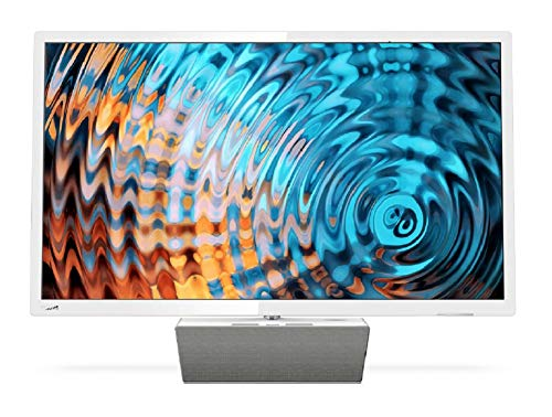 Philips Smart TV LED Full HD Ultrafino 32PFS5863/12, Televisor, HDMI/LAN/USB, 32 pulgadas, Blanco con base premium de altavoz bluetooth