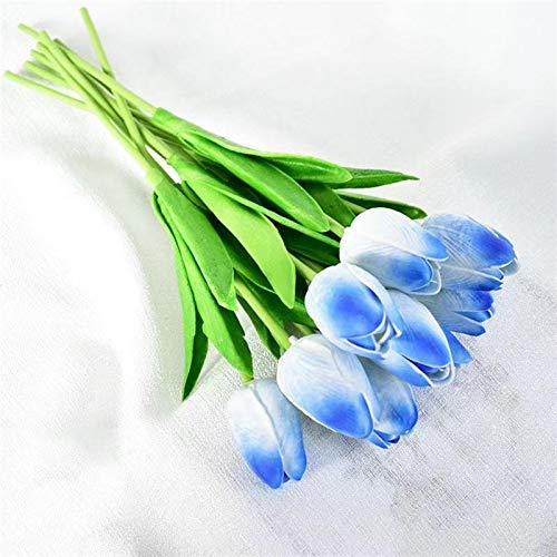 Flores artificiales de tulipanes de flores artificiales para decoración de bodas, flores artificiales para decoración de hogar, decoración de jardines (color: rojo atardecer)