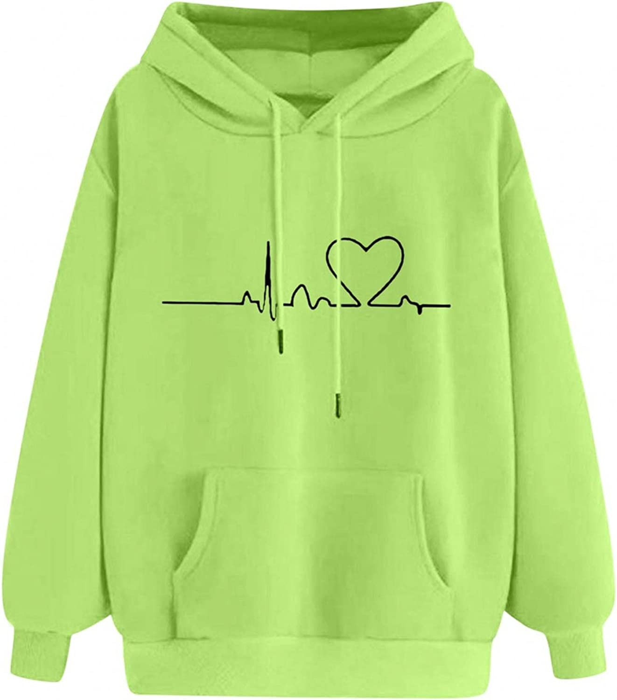 Toeava Sweatshirts for Women,Women's Cute Heart Hoodies Pullover Teen Girls Drawstring Hooded Sweatshirt with Pocket