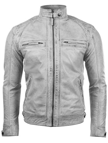 Aviatrix Herren Echtleder Kreuzschraffur Schulter Design Mode Jacke (44T9)