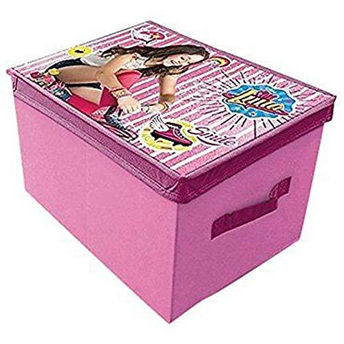 Scatola porta oggetti e giocattoli rettangolare in poliestere con stampa Soy Luna. Creata su licenza Disney.