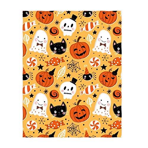 YISUMEI Decke 125x150 cm Kuscheldecken Sanft Flanell Weich Fleecedecke Bettüberwurf Halloween Muster