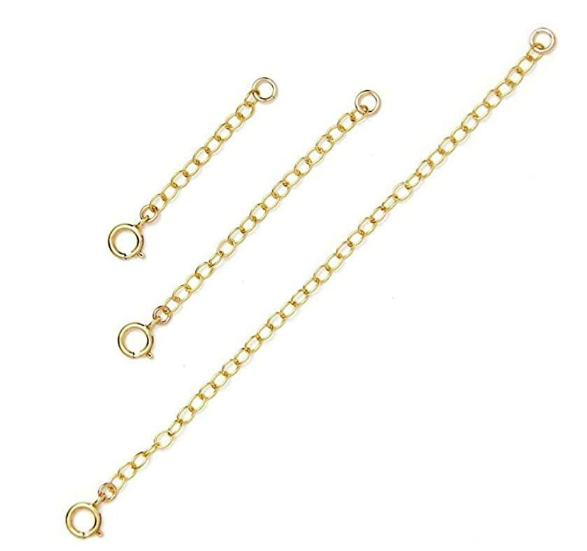 1 Set 14k Gold on Sterling Silver Necklace Extender Strong Removable Adjustable - 2