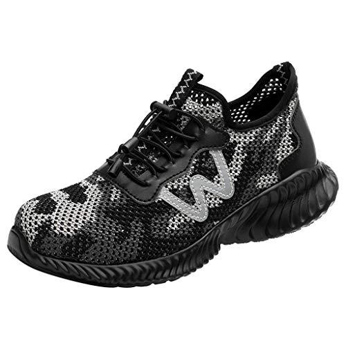 Precioul Sommer paar Anti-Milben-Pannen-Arbeitsschuhe atmungsaktiv tragen Mode Sicherheitsschuhe Damen Laufschuhe Atmungsaktiv Turnschuhe Schnürer Sportschuhe Sneaker