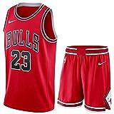 Camiseta Baloncesto Jersey NBA Hombres De Michael Jordan # 23, Transpirable Resistente Al Desgaste Bordó La Camiseta De La Camiseta + Pantalón Corto, XS-XXL, FHI012IHF (Color : Red, Size : M)