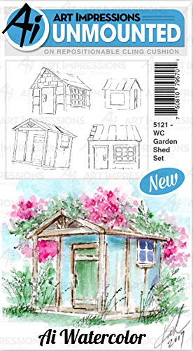 Art Impressions Watercolor Cling Rubber Stamps-Garden Shed