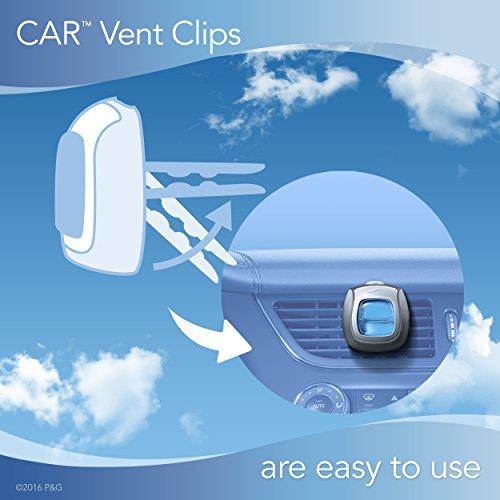 Febreze Car Air Freshener Vent Clips, 2 Linen & Sky and 2 Hawaiian Aloha Scents, Odor Eliminator, 4 Count