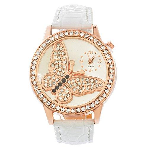Souarts Damen Weiß Schmetterling Strass Armbanduhr Quartz Analog Armreif Uhr mit Batterie (Weiss Schmetterling)