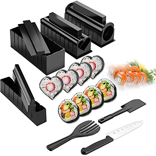 Kit Sushi per la Casa,11pcs Riso Rotolo Stampo Kit Sushi Completo con Sushi Maker, 8 Stampi, Forchetta e Spatola per Riso, Coltello,Facile da Pulire e Usare, Lavabile in Lavastoviglie,per la Cucina