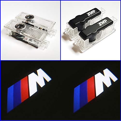 SMP 2X M Logo Tür Projektor kompatibel mit BMW, LED Willkommens-Licht mit BMW M Emblem - Türbeleuchtung - Einstiegsleuchten - Geist Schatten Lampe - 63312414105-63316972605