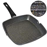 Home Icon Granite Griddle Pan 29cm Removable Handle, Induction, Gas and Electric Compatible, Whitford Non Stick Coating