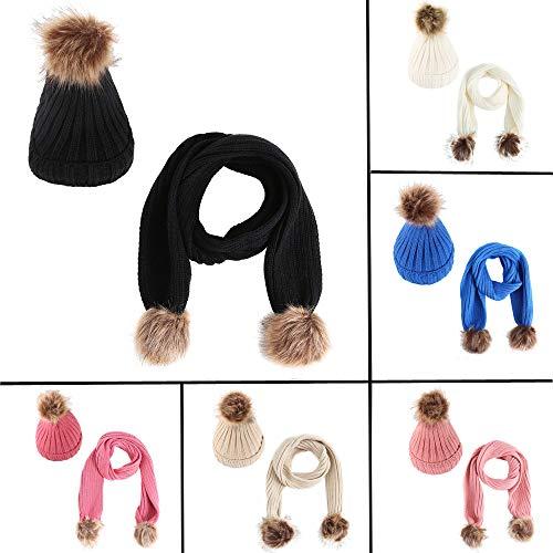 Buy Children Fashion Winter Warm Knitted Scarf and Hat Set Pom Pom Skullcaps (White)