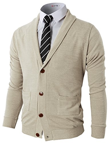 H2H Mens Slim Fit Basic Knitted Longsleeve V-Neck Pullover Sweaters Ivory US L/Asia XL (CMOCAL07)