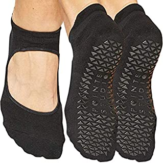 Pointe Studio Ankle Strap Socks for Women w/Grippers, 2 Pack [Non-Slip, Yoga, Pure Barre, Pilates, Dance, Bearfoot Workout]