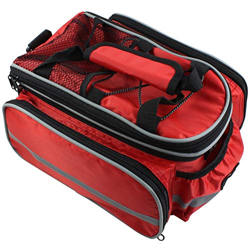 Bike Rear Seat Waterproof bag Multi Function Excursion Bicycle Cycling Bag Carrying Luggage Package Panniers with Rainproof Cover RUKEY (RED)