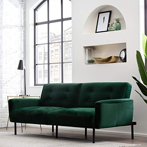 Edenbrook GilmanConvertible FoldingFuton Modern Square Arm Design-CompactCouch Bed–Fabric,Faux Leather, Deluxe, Forest Green Velvet