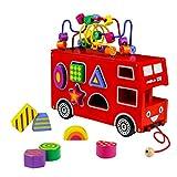 Holzspielzeug Roter Doppeldecker-Spielzeugbus Motorikschleife aus Holz Formen Stecken Stapel Puzzle