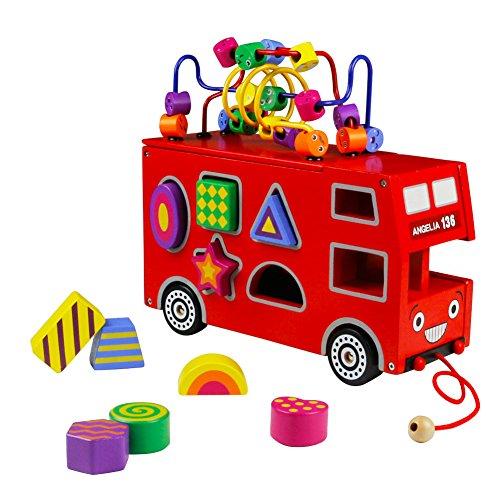Autobús Juguete - Formas Geométricas Madera Juguete de Arrastre Rojo Autobús de Londres para Niños