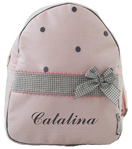Der Rucksack, der Schulrazen, der Schultasche oder Kindergartentasche mit der Name personalisiert. Der Modell: Katia