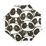 Mr.XZY Bonito panda invertido paraguas de dibujos animados patrón resistente al viento protección UV doble capa invertida paraguas con mango en forma de C 2010233