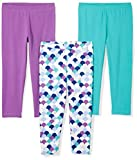Spotted Zebra Girls' Toddler Cropped Capri Leggings, 3-Pack Mermaid, 4T
