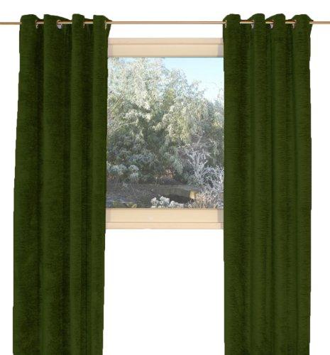 """Wirth, Chenille-Thermo-Vorhang """"Grönland"""", mit Ösen, schwere Qualität: 330g/m² , moosgrün, 180/134 cm"""