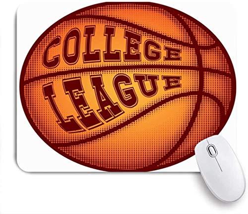 Maus Matte Mauspad Basketballball Inschrift College Action Sport Erholung Sportler Angriff Spieler Baller Korb angepasst Mauspad rutschfeste Gummibasis für Computer Laptop Büro