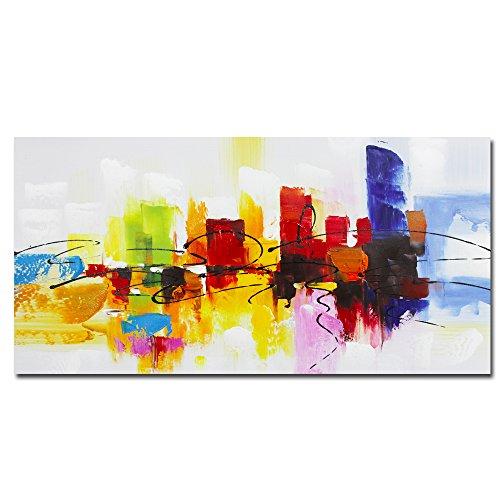 fokenzary Hand Painted bunt Abstrakte Malerei auf Leinwand Bright Lihgt rot grün Kaffee blau Wanddekoration gerahmt fertig zum Aufhängen - 16x32in