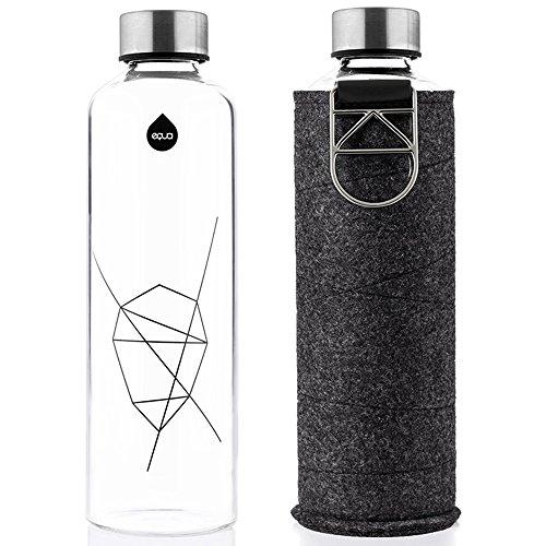 EQUA Trinkflasche Mismatch Silver 750 ml - Glasflasche mit Schutzhülle - Wasserflasche mit Filzhülle - Designer Trinkflasche aus Borosilikatglas 0,75 L