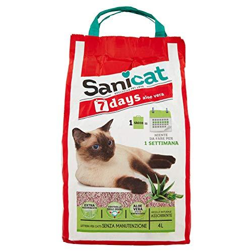 Sanicat Lettiera per Gatti in Aloe Vera, 7 Giorni, 2.7kg
