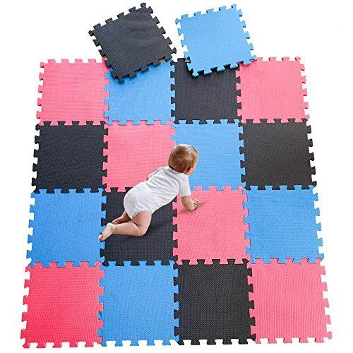 DrNanhai Esterilla Puzzle de Fitness-18 losas de EVA Espuma Alfombrilla Protectora Protección para el Suelo para máquinas de Deporte y gimnasios sobre el Piso Fácil de Limpiar - Rojo+Azul+Negro