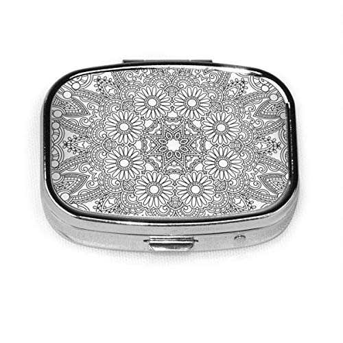 Círculo de encaje ornamento redondo ornamental geométrico vintage personalizado plata píldora caja medicina tableta titular cartera organizador para bolsillo o monedero