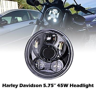 Omotor Harley Davidson Motorcycle 7 Inch 80W Osram Black Headlight High Low Beam Chrome Projector Headlamp Bulb Daymaker