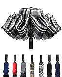 Windproof Travel Umbrella Compact Inverted Umbrella Automatic open and close Folding Reverse Umbrella for Men Women 10 ribs Gray plaid
