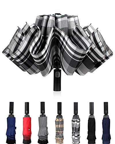 Winddichter Reise-Regenschirm, kompakt, umgekehrt, automatisches Öffnen und Schließen, zusammenklappbar, für Herren und Damen, 10 Rippen, Grau kariert