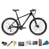 EWYI 27.5/29'' Bicicleta De Montaña Fibra Carbono, MTB Velocidad Variable 30/36, Cuadro Fibra Carbono, Absorción Impactos, Ciclismo Al Aire Libre, para Estudiantes Campo Black Red-36sp 27.5''