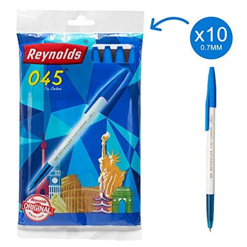 Reynolds 045 Fine Carbure Blue Ballpen, Pack of 10