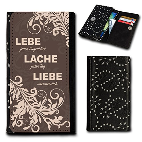 Strass Book Style Flip Handy Tasche Case Schutz Hülle Foto Schale Motiv Etui für Mobistel Cynus F9 - Flip SU5 Design1