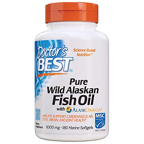 Doctors Best Pure Wild Alaskan Fish Oil with AlaskOmega, Heart, Brain, Mental Wellbeing, Eyes, Non-GMO, Gluten Free, 180 Marine Softgels