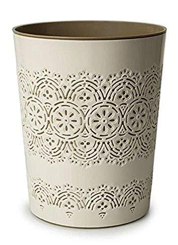 CANYON Flora Abfallbehälter, 9 Liter, für Bürozimmer, Badezimmer, cremefarben
